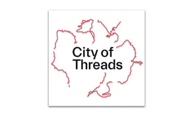 The City of Threads logo is square in shape, with the words City of Threads situated in the centre; black text on white background. Fine red wiggly lines emanate out from the title words, tracing fragments of actual journeys featured in the podcast.